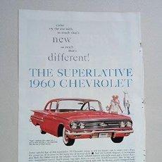 Coches y Motocicletas: 1960 CHEVROLET BEL-AIR 2-DOOR SEDAN. GENERAL MOTORS. RECORTE PUBLICIDAD. Lote 211514292