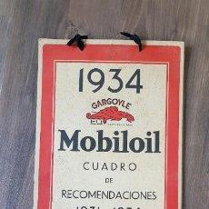 Coches y Motocicletas: ANTIGUO CUADRO DE RECOMENDACIONES MOBILOIL PARA 1934. Lote 211976113