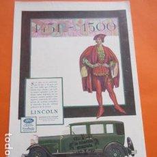 Coches y Motocicletas: PUBLICIDAD 1930 - COLECCION COCHES - LINCOLN FORD FORDSON 1451 1500. Lote 212495371