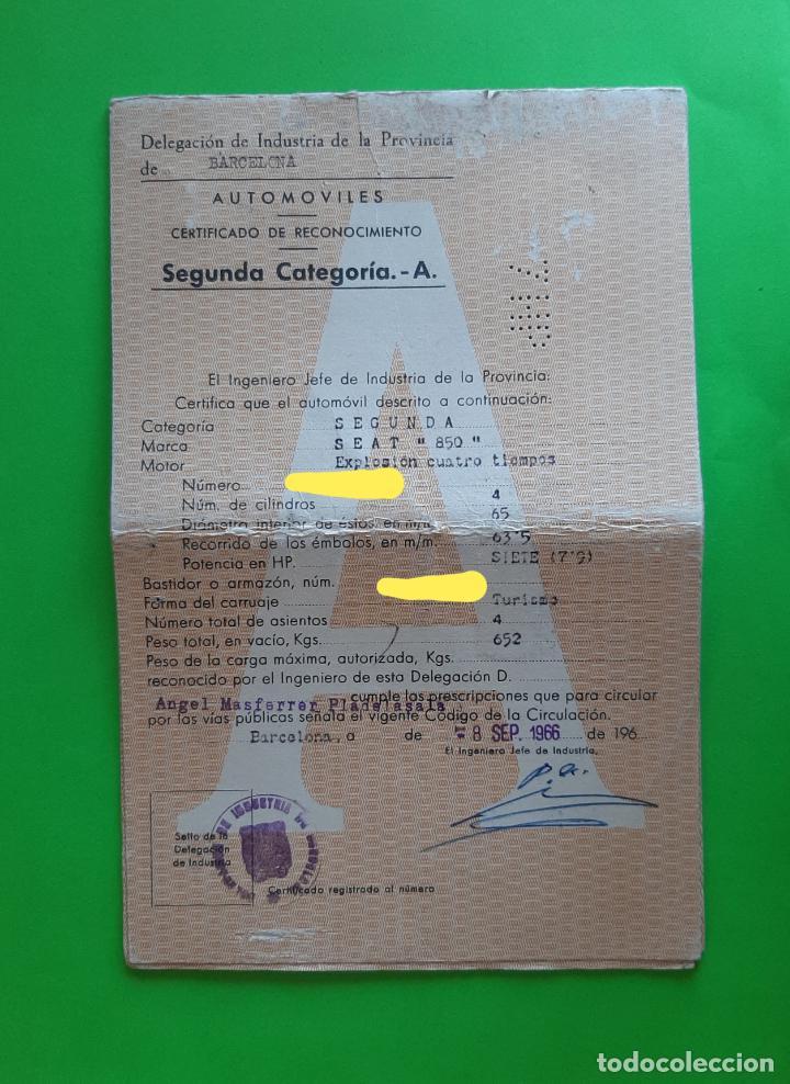 Coches y Motocicletas: PERMISO DE CIRCULACIÓN AUTOMÓVILES 1966 SEAT 850 - Foto 2 - 212906077