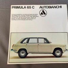 Coches y Motocicletas: AUTOBIANCHI PRIMULA 65C CATALOGO SALES BROCHURE ORIGINAL. Lote 212925950