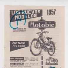 Carros e motociclos: PUBLICIDAD T 1957. ANUNCIO MOTOBIC. NUEVOS MODELOS 1957. FABRICA MOTOBIC. EIBAR (GUIPUZCOA). Lote 213282715