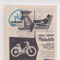 Carros e motociclos: PUBLICIDAD T 1957. ANUNCIO MOBYLETTE. GARATE ANITUA Y CIA. EIBAR (GUIPUZCOA). Lote 213283990