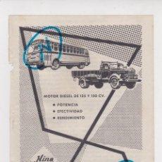 Carros e motociclos: PUBLICIDAD T 1956. ANUNCIO HINO. CAMIONES. AUTOBUSES. HINO DIESEL INDUSTRY CO., INC. TOKIO (JAPON). Lote 213286551