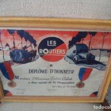 Coches y Motocicletas: DIPLOMA DE HONOR DE LOS CONDUCTORES AL MERITO DE LA CORPORACIÓN. PARIS 1962. Lote 213464775