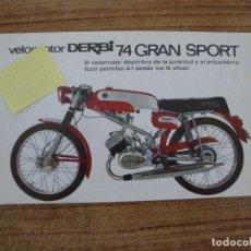 Carros e motociclos: (TC-108) FOLLETO DERBI VELOMOTOR DERBI 74 GRAN SPORT. Lote 213809608
