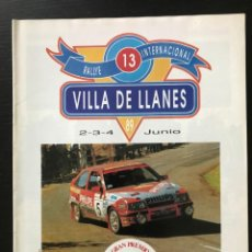 Voitures et Motocyclettes: PROGRAMA 13 RALLYE INTERNACIONAL VILLA DE LLANES JUNIO 1989 - RALLY GRAN PREMIO ASTURIAS ESPAÑA. Lote 215586312