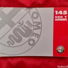 Coches y Motocicletas: MANUAL DE USO, INSTRUCCIONES, MANTENIMIENTO ALFA ROMEO 145 . 1996. Lote 217031027
