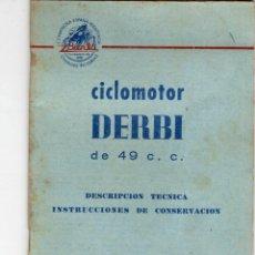 Coches y Motocicletas: CICLOMOTOR DERBI DE 49 C.C. INSTRUCCIONES DE CONSERVACIÓN, 1964. Lote 217137672