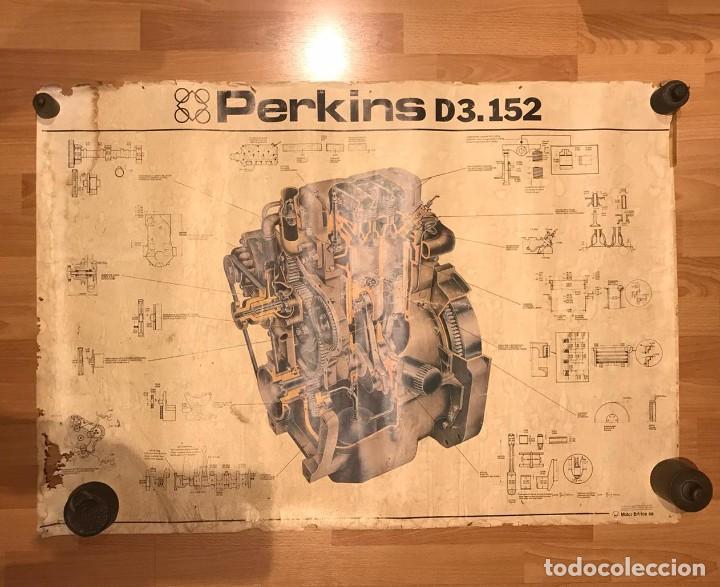 ANTIGUO CARTEL MOTOR PERKINS D3.152 EDITADO POR MOTOR IBERICA S.A AÑOS 70 (Coches y Motocicletas Antiguas y Clásicas - Catálogos, Publicidad y Libros de mecánica)