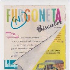 Coches y Motocicletas: PUBLICIDAD T 1958. ANUNCIO FURGONETA BISCUTER. UTILAUTO, S.A. (BARCELONA). Lote 218160978
