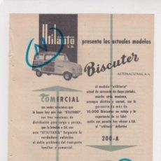 Coches y Motocicletas: PUBLICIDAD T 1957. ANUNCIO BISCUTER AUTONACIONAL, S.A. UTILAUTO, S.A.. Lote 218440935
