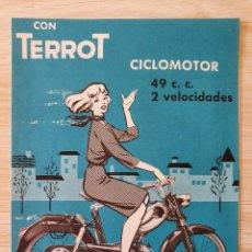 Coches y Motocicletas: CATALOGO DESPLEGABLE CICLOMOTORES TERROT - ORIGINAL AÑOS 50. Lote 218999527