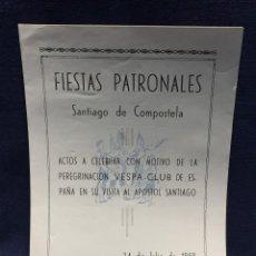 Coches y Motocicletas: DOCUMENTO VESPA CLUB ESPAÑA PEREGRINACION SANTIAGO COMPOSTELA 24 JULIO 1959 17X12,5CM. Lote 219351882