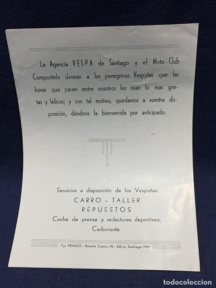 Coches y Motocicletas: documento vespa club españa peregrinacion santiago compostela 24 julio 1959 17x12,5cm - Foto 5 - 219351882