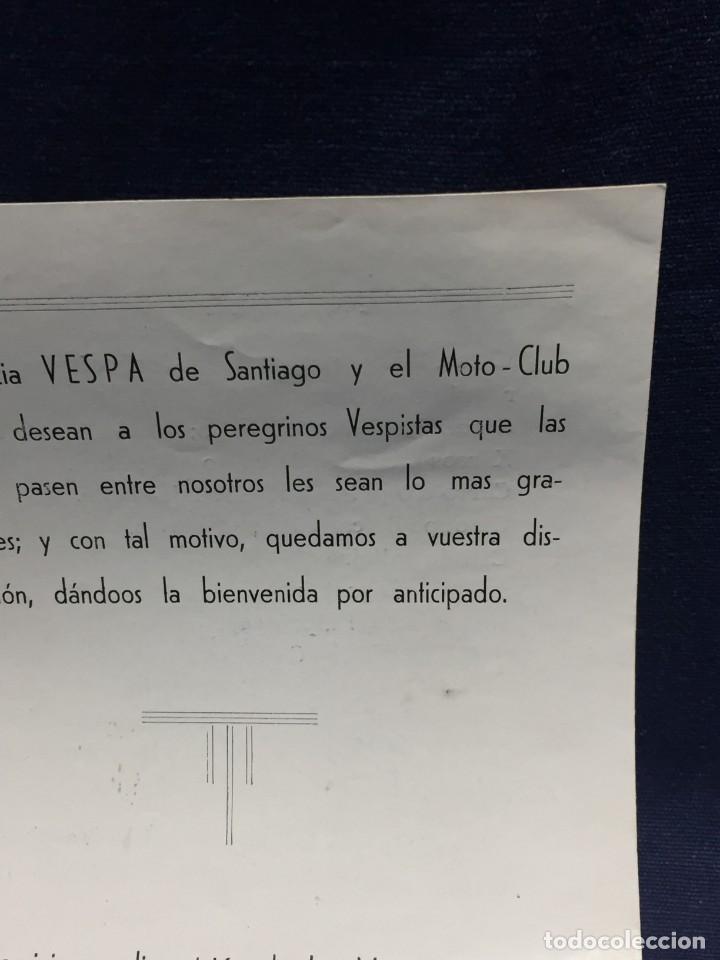 Coches y Motocicletas: documento vespa club españa peregrinacion santiago compostela 24 julio 1959 17x12,5cm - Foto 8 - 219351882