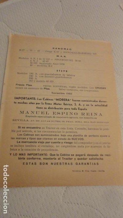 Coches y Motocicletas: ANTIGUO DIPTICO.TRACTOR.CABINAS MORERA.DAVID BROWN.RENAULT.FORDSON MAJOR.FHAR.LANZA.MAN.1960 - Foto 3 - 220614832
