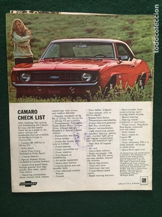Coches y Motocicletas: CATALOGO COCHE CHEVROLET - CAMARO - AÑO 1969 - Foto 4 - 220982078