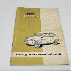 Coches y Motocicletas: MANUAL SEAT 600 D INCLUYE MODELO DESCAPOTABLE 1963. Lote 221637505