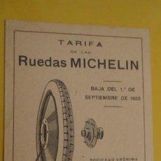 Coches y Motocicletas: ANTIGUA TARIFA RUEDAS.NEUMATICO MICHELIN SEPTIEMBRE DE 1922. MADRID.. Lote 221699772