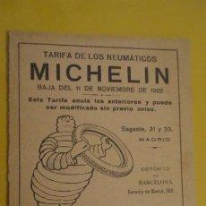 Coches y Motocicletas: ANTIGUA TARIFA RUEDAS.NEUMATICO MICHELIN SEPTIEMBRE DE 1922. MADRID.. Lote 221700297