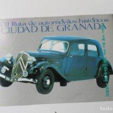Coches y Motocicletas: CATALOGO XIII RUTA DE AUTOMOVILES HISTORICOS CIUDAD DE GRANADA 1992. Lote 221741973