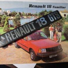 Coches y Motocicletas: CATALOGO DE RENAULT 18 FAMILIAR.+ PLACA DE LA MARCA.. Lote 222638807