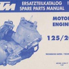 Coches y Motocicletas: CATÁLOGO DE PIEZAS KTM DESPIECE MOTOR 125/200 SX EXC EGS MXC 1998. Lote 222689417