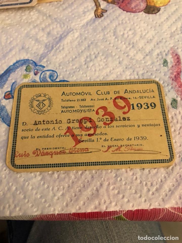 CARNET DE SOCIO REAL CLUB AUTOMÓVIL DE ANDALUCIA 1939 (Coches y Motocicletas Antiguas y Clásicas - Catálogos, Publicidad y Libros de mecánica)