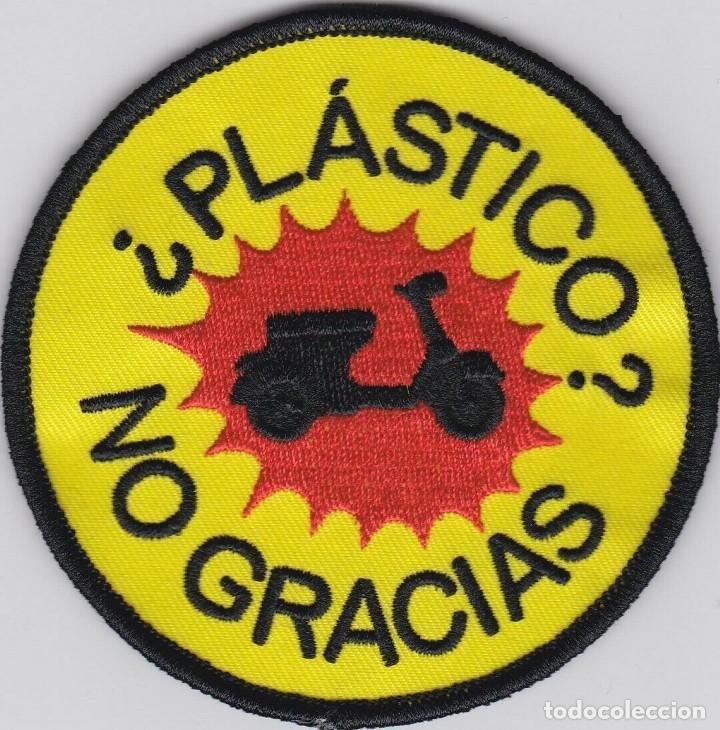 PARCHE BORDADO VESPA LAMBRETTA ¿PLASTICO? NO GRACIAS (Coches y Motocicletas Antiguas y Clásicas - Catálogos, Publicidad y Libros de mecánica)