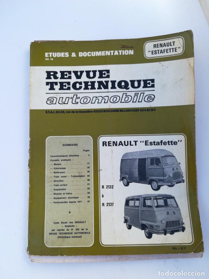 MANUAL RENAULT ESTAFETTE (Coches y Motocicletas Antiguas y Clásicas - Catálogos, Publicidad y Libros de mecánica)