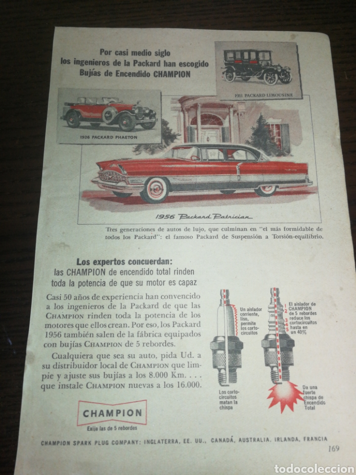 CHAMPION BUJÍAS, ANTIGUA PUBLICIDAD 1956 (Coches y Motocicletas Antiguas y Clásicas - Catálogos, Publicidad y Libros de mecánica)
