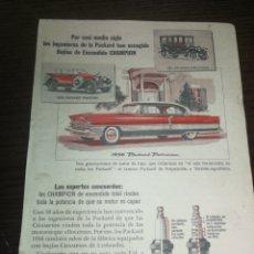 Coches y Motocicletas: CHAMPION BUJÍAS, ANTIGUA PUBLICIDAD 1956. Lote 226163295