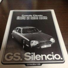 Coches y Motocicletas: CITROËN GS, ANTIGUA PUBLICIDAD 1973.. Lote 227102090