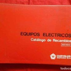 Coches y Motocicletas: CHRYSLER, CATALOGO RECAMBIOS EQUIPOS ELECTRICOS BARREIROS , AÑOS 1970,. Lote 228431145