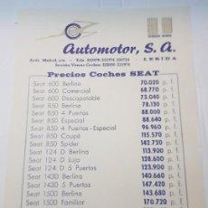 Coches y Motocicletas: FOLLETO CATÁLOGO PRECIOS SEAT AÑOS 50-60 DE AUTOMOTOR. Lote 229577605