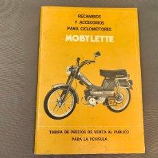 Coches y Motocicletas: MOBYLETTE LIBRETO TARIFA DE PRECIOS RECAMBIOS ENERO 1984 CATALOGO ORIGINAL. Lote 229852620