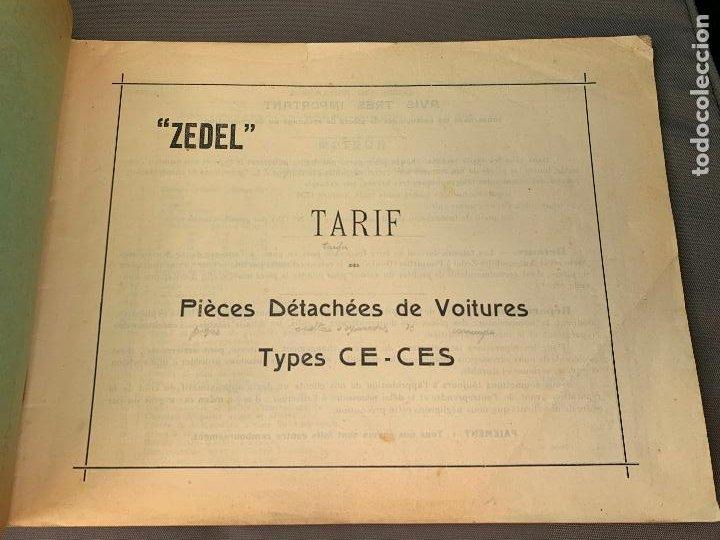 Coches y Motocicletas: DONNET ZEDEL VOITURES CATALOGO TARIFAS PIEZAS RECAMBIO 1920 TYPES CE Y CES - Foto 2 - 229902340