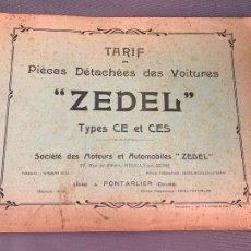 Coches y Motocicletas: DONNET ZEDEL VOITURES CATALOGO TARIFAS PIEZAS RECAMBIO 1920 TYPES CE Y CES. Lote 229902340