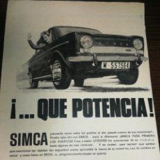Coches y Motocicletas: SIMCA, BARREIROS, CHRYSLER, ANTIGUA PUBLICIDAD (1965) HOJA GRAN FORMATO, 32 CM X 22 CM. Lote 233764675