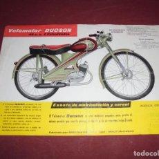 Coches y Motocicletas: MAGNFICO ANTIGUO FOLLETO PUBLICITARIO,VELOMOTOR DUCSON 49 C. C. 3 VELOCIDADES. Lote 234393955