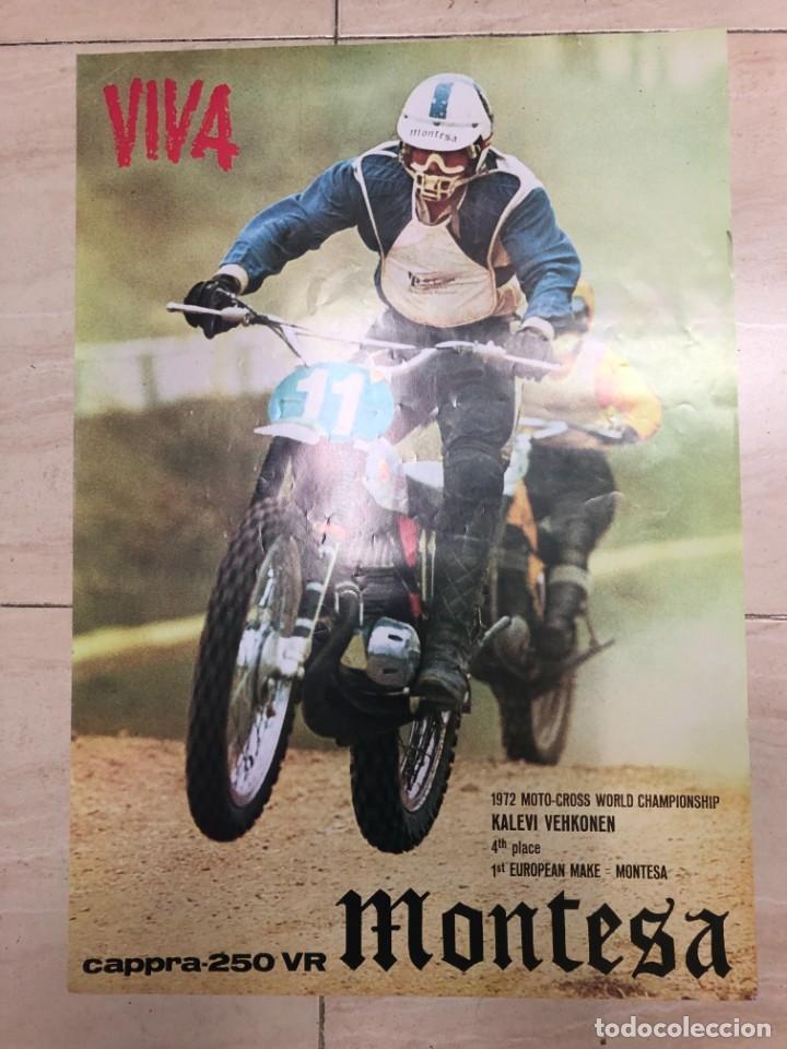 CARTEL PUBLICITARIO ORIGINAL MONTESA CAPPRA CAPPRA 250 VR MOTO CROOS KALEVI VEHKONEN MIDE 75 X 50 CM (Coches y Motocicletas Antiguas y Clásicas - Catálogos, Publicidad y Libros de mecánica)