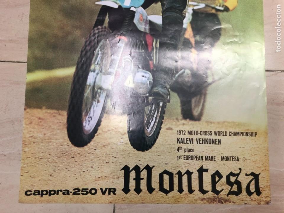 Coches y Motocicletas: CARTEL PUBLICITARIO ORIGINAL MONTESA CAPPRA CAPPRA 250 VR MOTO CROOS KALEVI VEHKONEN MIDE 75 X 50 CM - Foto 3 - 234915560