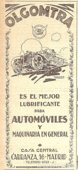 1923 HOJA REVISTA PUBLICIDAD ANUNCIO DE PRENSA LUBRIFICANTE ACEITE AUTOMÓVIL Y MAQUINARIA OLGOMTRA (Coches y Motocicletas Antiguas y Clásicas - Catálogos, Publicidad y Libros de mecánica)