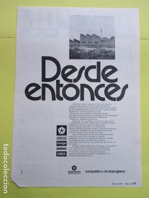 PUBLICIDAD 1974 - CHRYSLER DODGE BARREIROS SIMCA (Coches y Motocicletas Antiguas y Clásicas - Catálogos, Publicidad y Libros de mecánica)