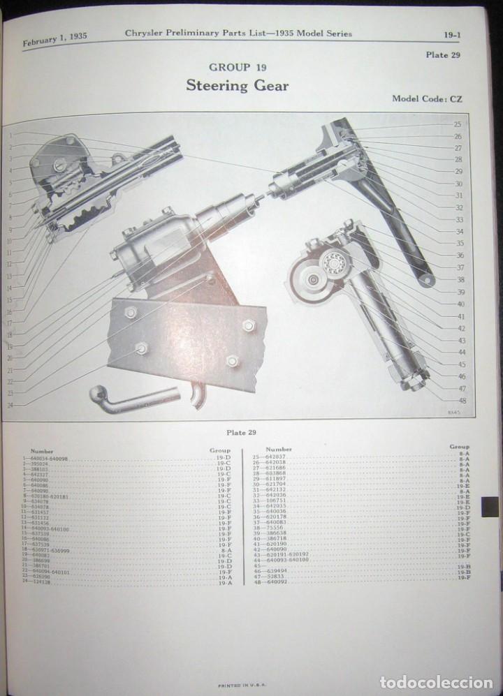 Coches y Motocicletas: CATÁLOGO DE PIEZAS DE RECAMBIO PARA CHRYSLER ORIGINAL DE 1935. - Foto 5 - 235564940