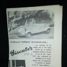 Coches y Motocicletas: BISCUTER 200-A, (1955),ANTIGUA PUBLICIDAD PROCEDENTE REVISTA AÑO 1955.. Lote 235855845