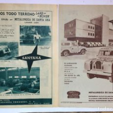 Coches y Motocicletas: 2 HOJAS ANUNCIO PUBLICIDAD LAND ROVER SANTANA (1958-59) ¡ORIGINALES! COLECCIONISTA. Lote 235998155