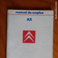 Coches y Motocicletas: MANUAL DE EMPLEO CITROEN AX 1987. EIP. Lote 236268330