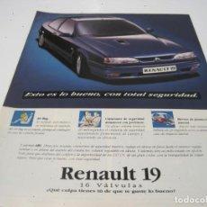 Coches y Motocicletas: RENAULT 19 16V: ANUNCIO PUBLICIDAD 1993. Lote 236274785